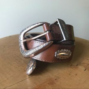 Vintage 90s Brighton Brown Leather Concho Belt